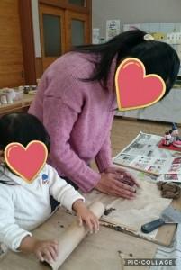 親子で粘土を楽しむ